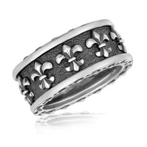 Sterling Silver Men's Ring with Fleur De Lis Motifs Size 9