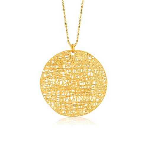 Italian Design 14K Yellow Gold Woven Circle Pendant 18 inches