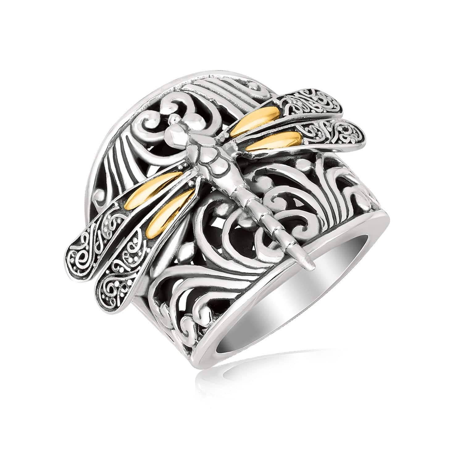 18K Yellow Gold and Sterling Silver Dragonfly and Flourishes Ring Size 9