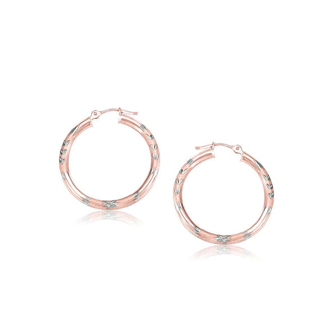 14K Rose Gold Fancy Diamond Cut Hoop Earrings 25mm Diameter