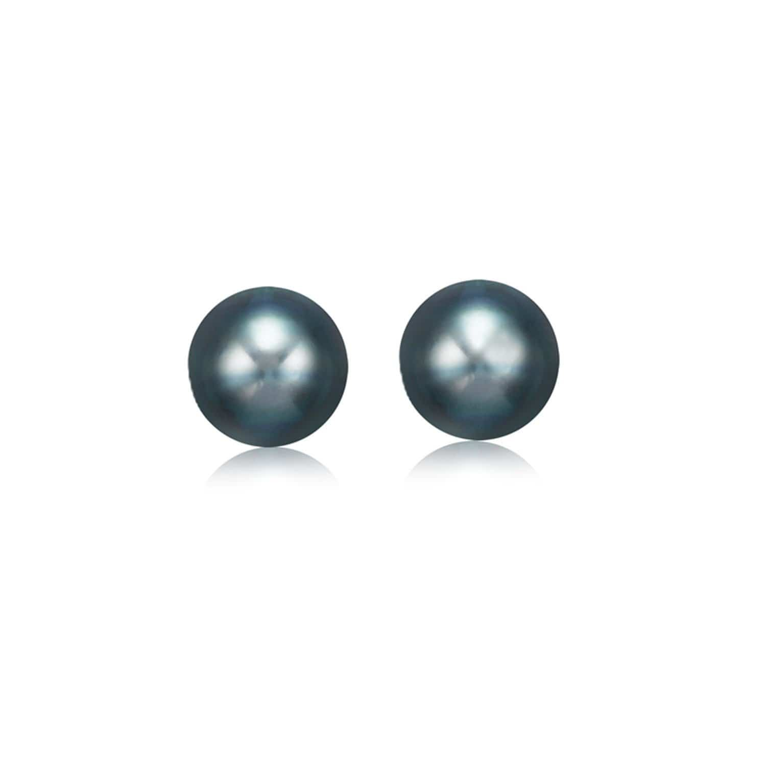 14K Yellow Gold Cultured Black Pearl Stud Earrings 7.0 mm
