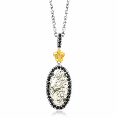 18K Yellow Gold & Sterling Silver Oval Rutilated Quartz and Black Spinel Pendant 18 inches