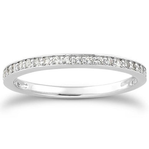 14K White Gold Micro-pave Diamond Wedding Ring Band Set 3/4 Around Size 7.5