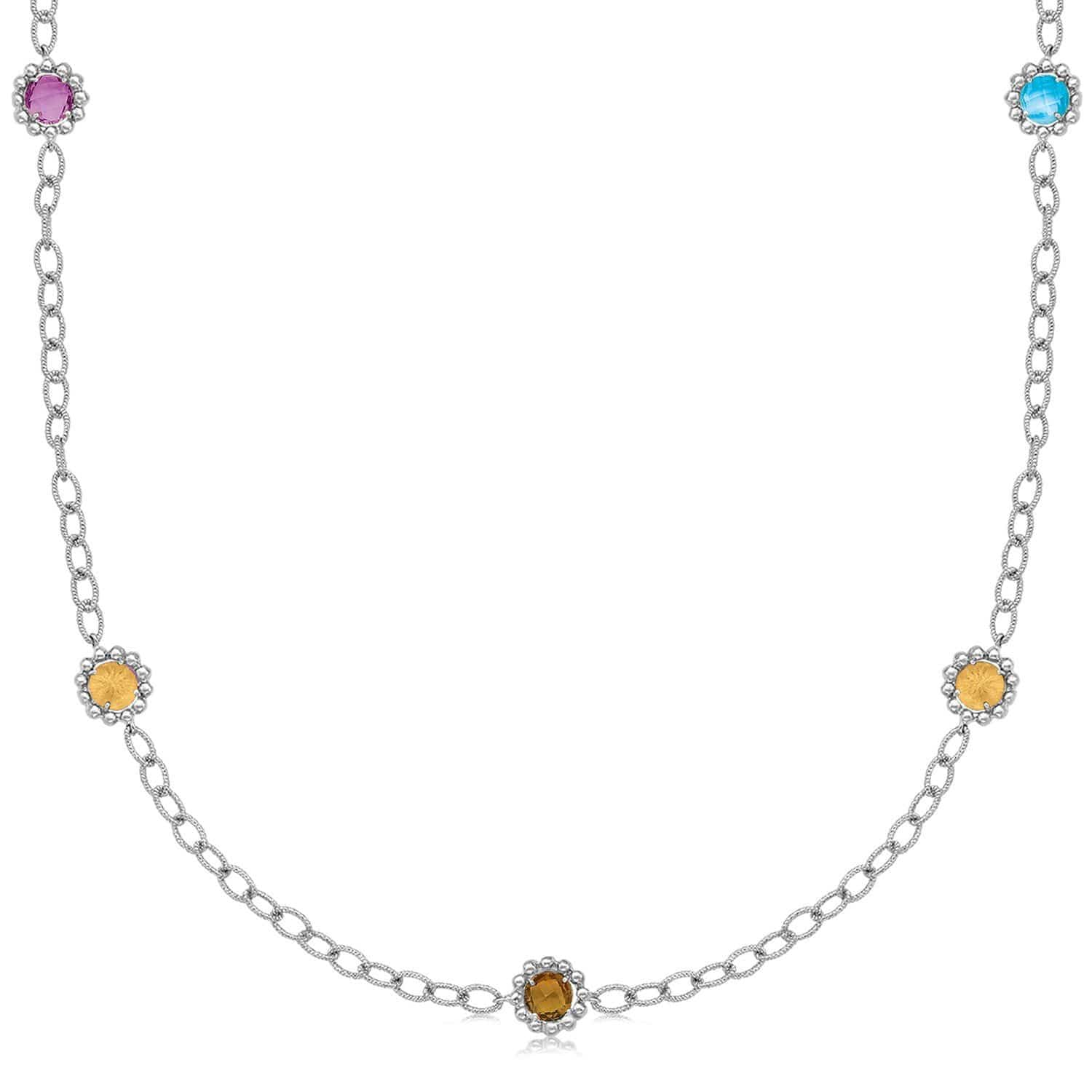 "18K Yellow Gold and Sterling Silver 17"""" Chain Necklace With Multi Gemstones 17 inches"