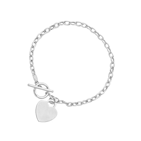 Toggle Bracelet with Heart Charm in 14K White Gold 7.5 inches