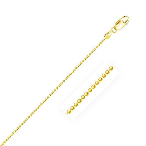1.2mm 14K Yellow Gold Diamond-Cut Bead Chain 18 inches