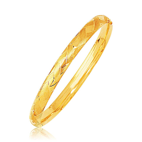 14k Yellow Gold Domed Bangle with a Weave Motif 8 inches