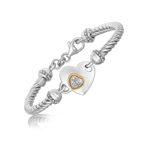 18K Yellow Gold and Sterling Silver Heart Design Bracelet with Diamonds 7.5 inches