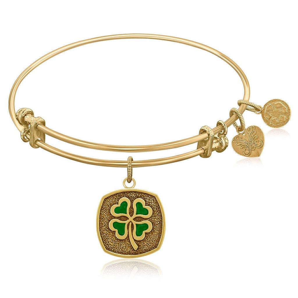Expandable Bangle in Yellow Tone Brass with Four Leaf Clover Luck Symbol