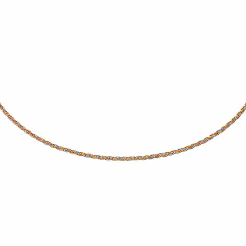 14K Tri-Tone Gold Plaited Motif Multi Strand Mirror Spring Necklace 17 inches