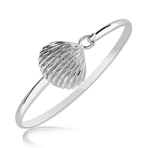 Sterling Silver Rhodium Plated Thin Bangle with a Clam Shell Accent 7 inches