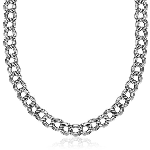 Sterling Silver Rhodium Plated Classic Double Curb Style Chain Necklace 18 inches