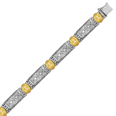 18K Yellow Gold and Sterling Silver Baroque Bracelet with Bar and Oval Links 7.5 inches