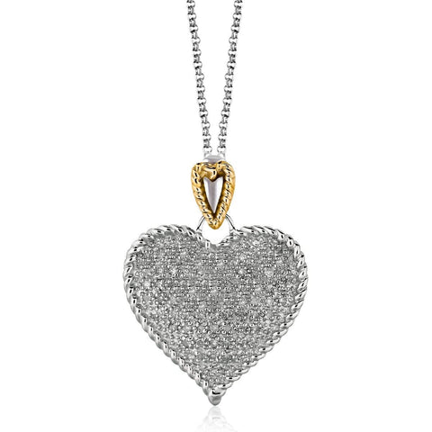 Designer Sterling Silver and 14K Yellow Gold Heart Shape Pave Diamond Pendant 18 inches