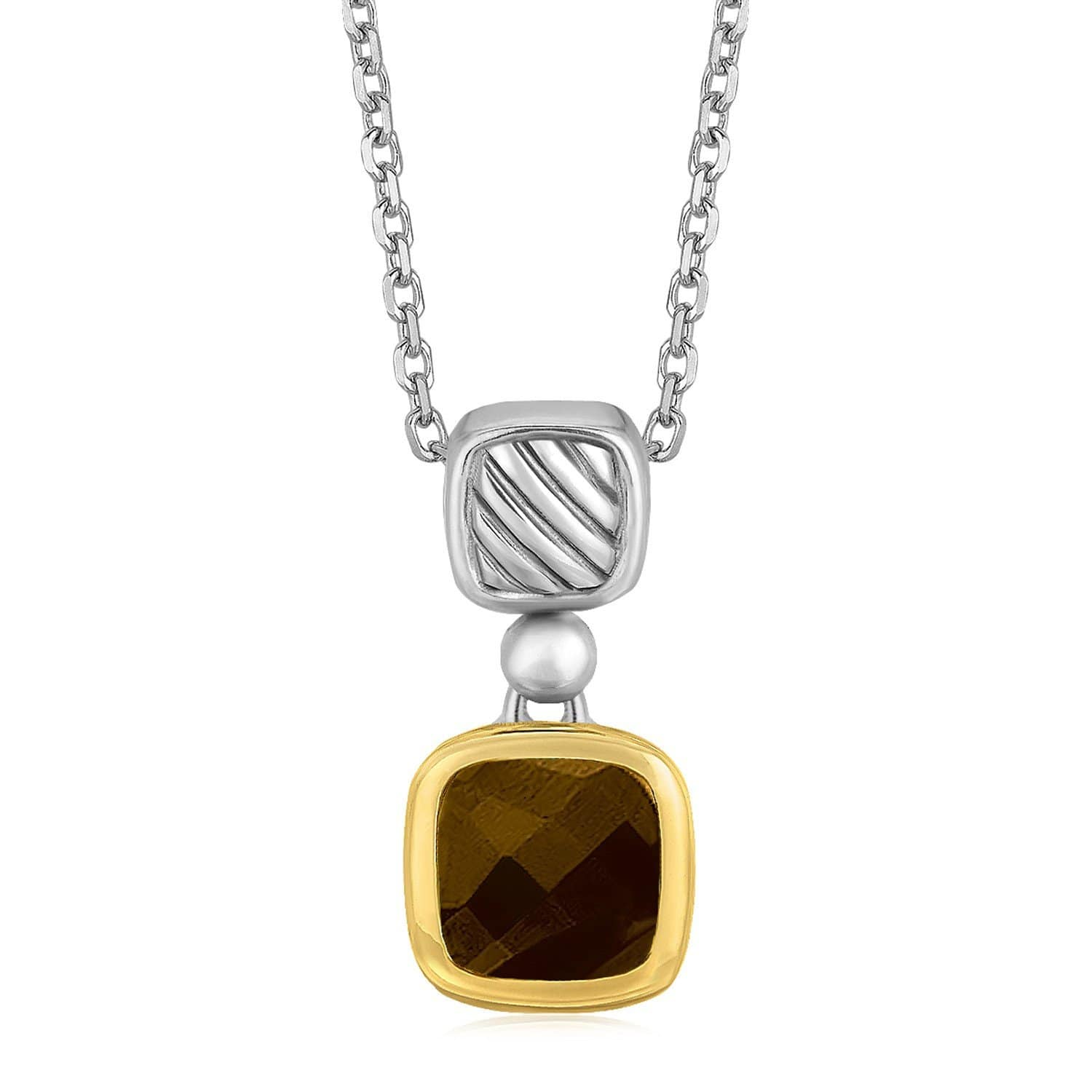 18K Yellow Gold and Sterling Silver Cushion Style Smokey Topaz Necklace 18 inches