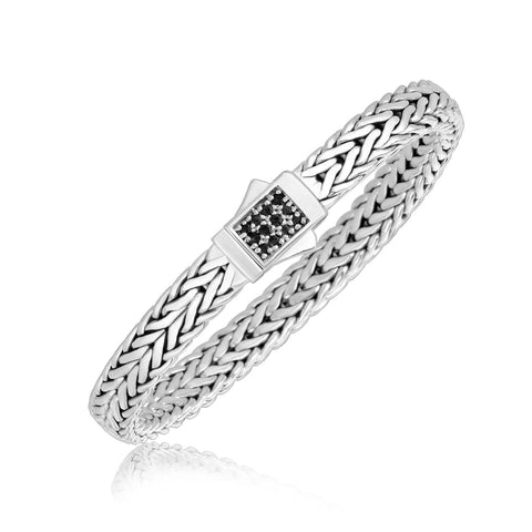 Sterling Silver Braided Black Sapphire Embellished Men's Bracelet 8.25 inches