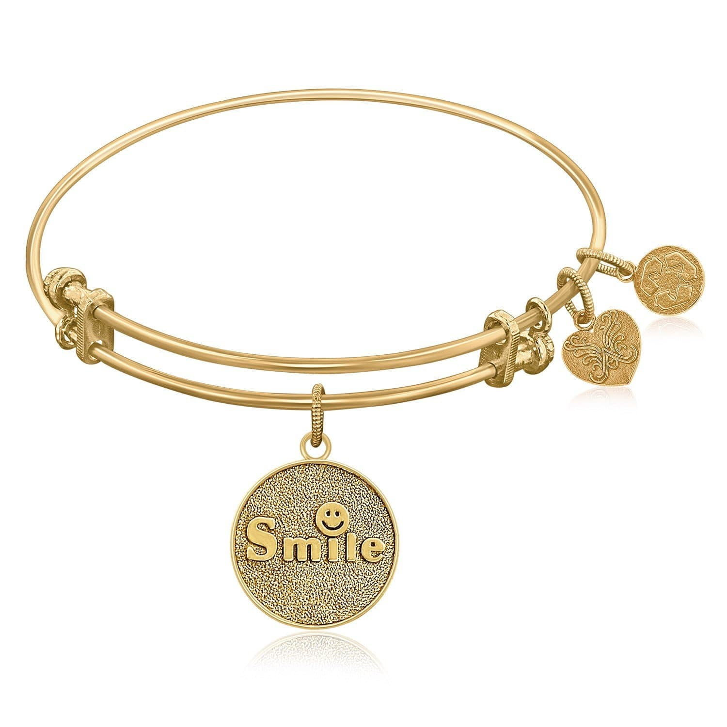 Expandable Bangle in Yellow Tone Brass with Smile Symbol