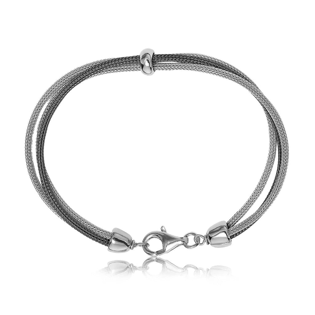 Sterling Silver Rhodium and Ruthenium Plated Wheat Motif Bracelet 7.5 inches