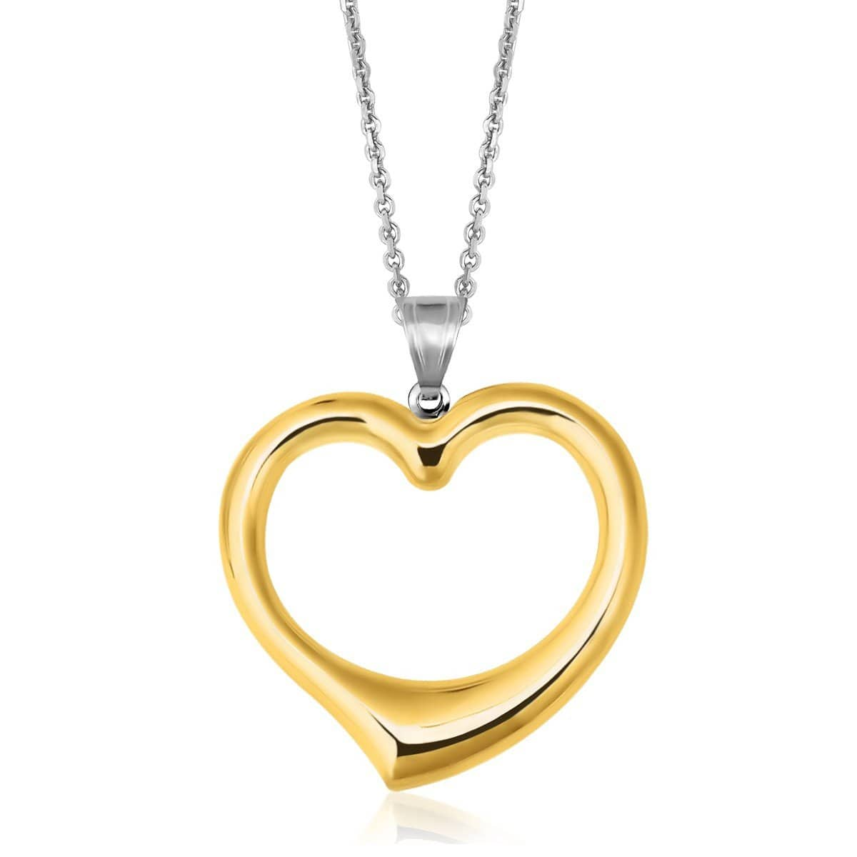 14K Yellow Gold & Sterling Silver Designer Pendant with Reversible Heart 18 inches