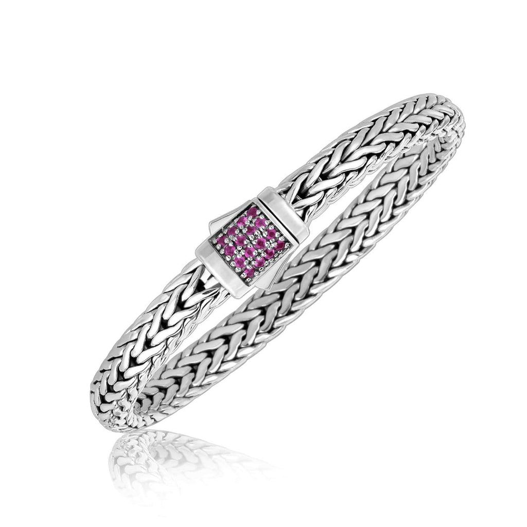 Sterling Silver Braided Style Men's Bracelet with Pink Sapphire Accents 7.5 inches