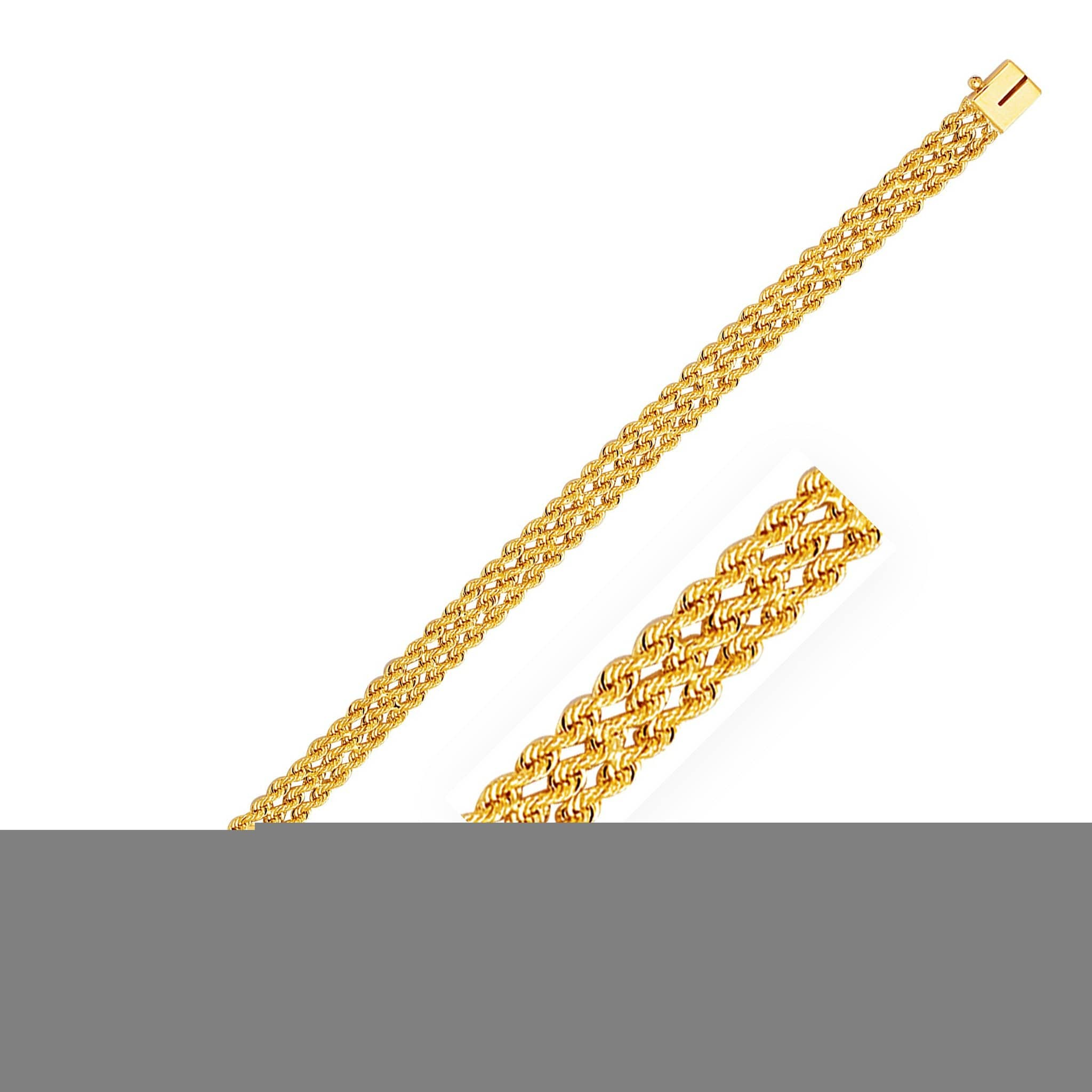 7.5mm 14K Yellow Gold Three Row Rope Bracelet 8 inches