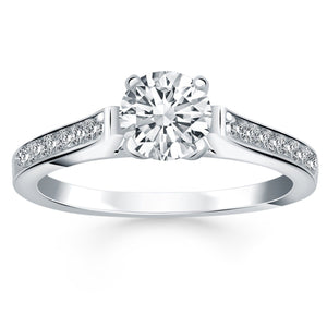 14K White Gold Pave Diamond Cathedral Engagement Ring Size 5.5