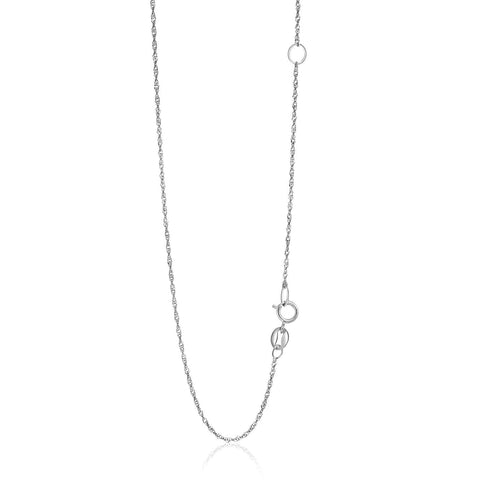 1.1mm 14K White Gold Adjustable Singapore Chain 18 inches