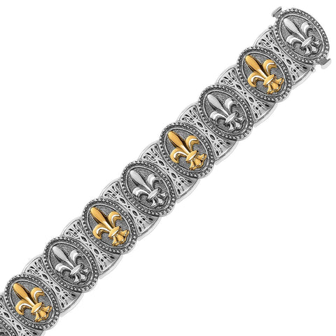 18K Yellow Gold and Sterling Silver Fleur De Lis Motif Fancy Bracelet 7.5 inches