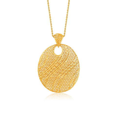 Italian Design 14K Yellow Gold Oval Lattice Pendant 18 inches