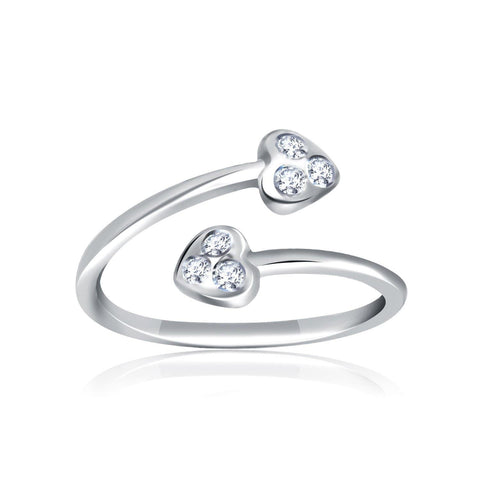 14K White Gold Cubic Zirconia Embellished Toe Ring with Heart Ends
