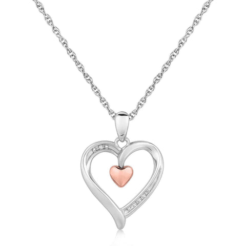 Sterling Silver Dual Heart Style Diamond Accented Pendant .01 ct t.w. 18 inches