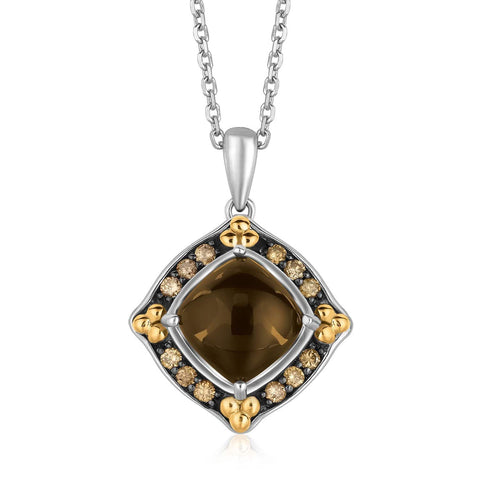 18K Yellow Gold and Sterling Silver Necklace with Cabochon Pendant 18 inches