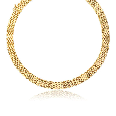 14K Yellow Gold Flexible Panther 9.0mm Line Necklace 17 inches