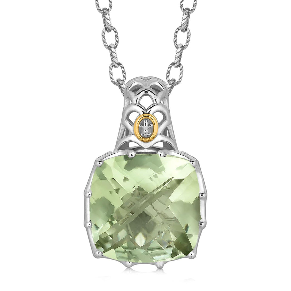 18K Yellow Gold and Sterling Silver Fleur De Lis Bail Green Amethyst Pendant 18 inches
