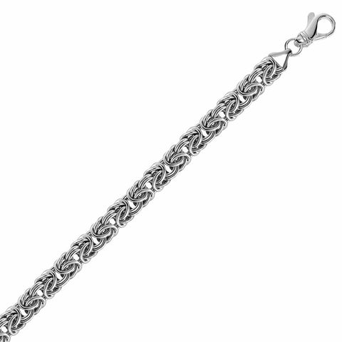 Sterling Silver Byzantine Chain Bracelet with Rhodium Plating 8 inches
