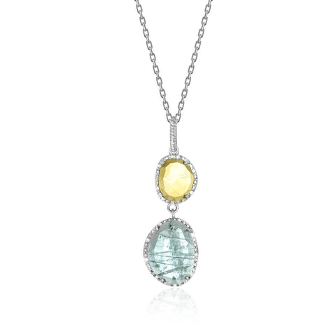 Sterling Silver Layered Blue Topaz, Citrine, and Diamond Pendant 18 inches
