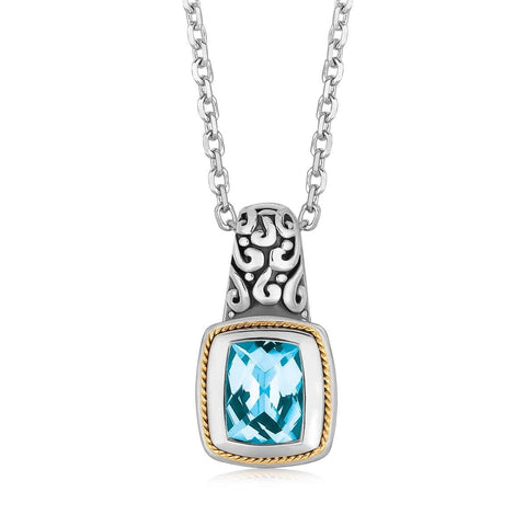 18K Yellow Gold and Sterling Silver Necklace with Milgrained Blue Topaz Pendant 18 inches