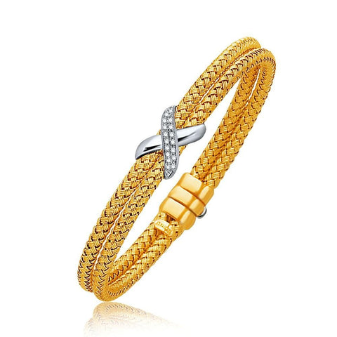 Basket Weave Bangle with Diamond Cross Accent in 14K Yellow Gold 7.0mm 7.25 inches