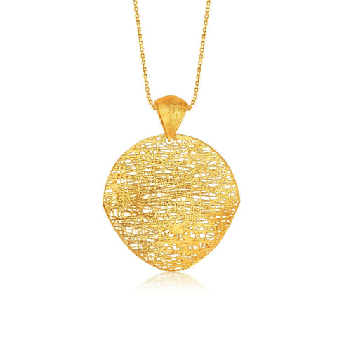 Italian Design 14K Yellow Gold Woven Artistic Pendant 18 inches