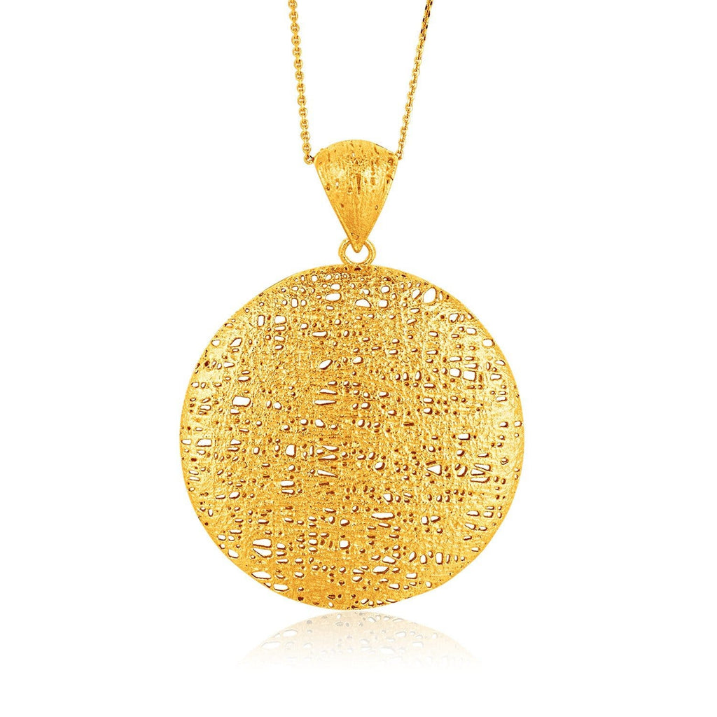 Italian Design 14K Yellow Gold Woven Circle Pendant with Bail 18 inches