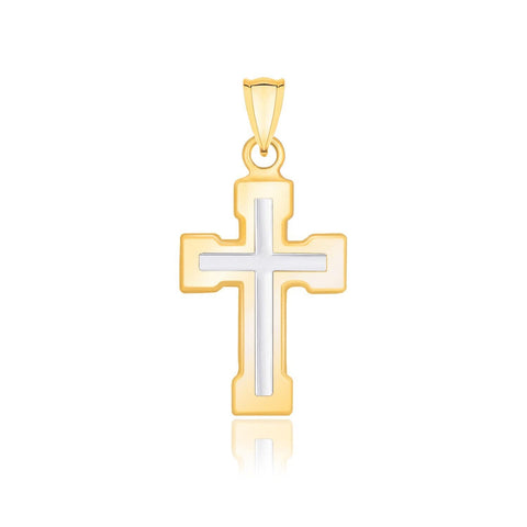 14K Two-Tone Gold Dual Cross Design Pendant with Block Ends