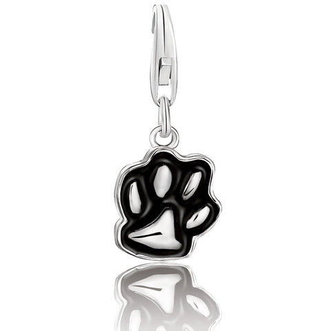 Sterling Silver Black Enameled Dog Paw Charm