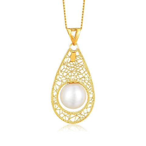 14K Yellow Gold Mesh Teardrop Motif Pearl Accented Pendant 18 inches