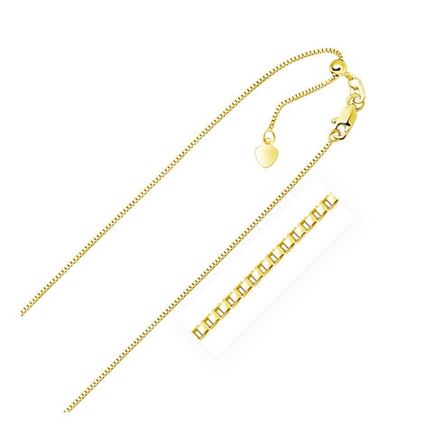 0.85mm 10K Yellow Gold Adjustable Box Chain 22 inches
