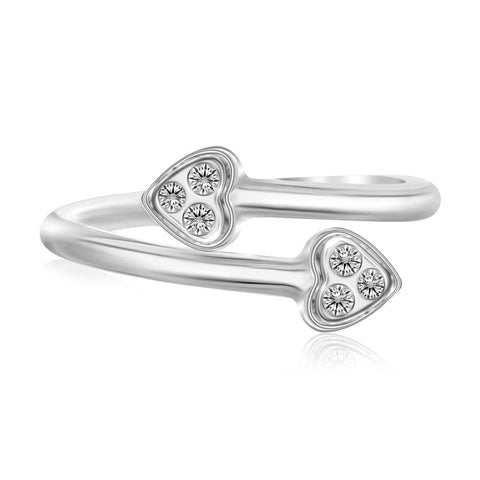 Sterling Silver Rhodium Plated Heart Motif Cubic Zirconia Heart Toe Ring