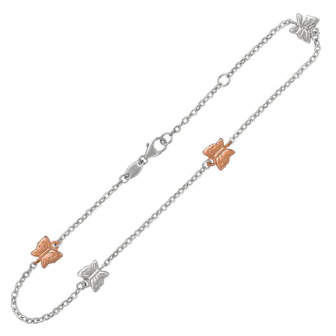 14K Rose Gold and Sterling Silver Anklet with Butterfly Stations 10 inches