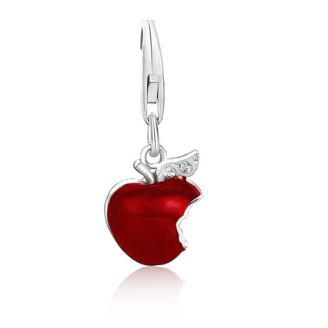 Sterling Silver Red Enameled Bitten Apple Charm