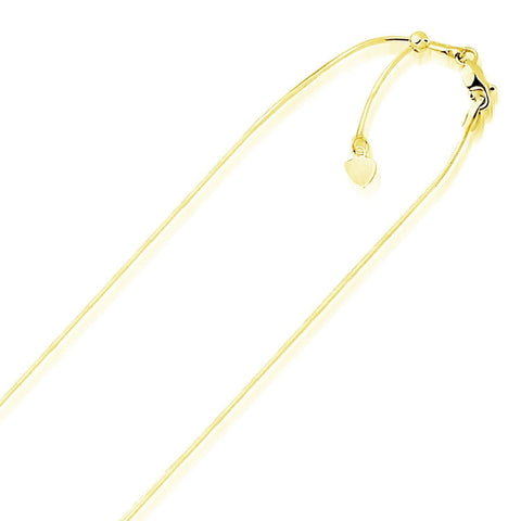 0.85mm 14K Yellow Gold Adjustable Snake Chain 22 inches