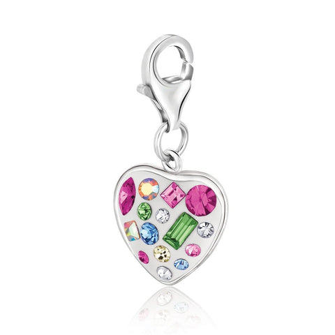 Sterling Silver Heart Style Charm with Multi Color and Multi Shape Crystals