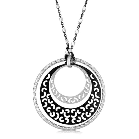 Sterling Silver Rhodium Plated Multi Style Triple Circle Pendant 18 inches